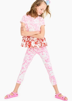 J.Crew Girls' cropped everyday leggings in white-out floral