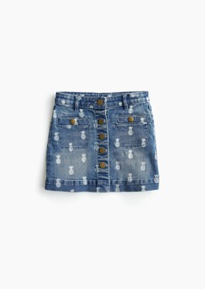 J.Crew Girls' denim skirt in pineapple print