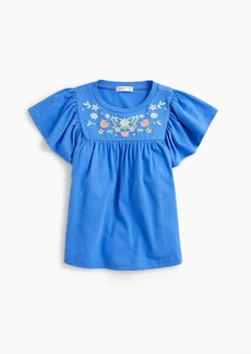 J.Crew Girls' embroidered bell-sleeved T-shirt