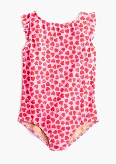 J.Crew Girls' flutter-sleeve one-piece swimsuit in hearts