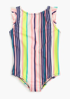 J.Crew Girls' flutter-sleeve one-piece swimsuit in pink stripe