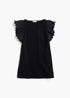 J.Crew Girls' flutter-sleeve pom-pom dress