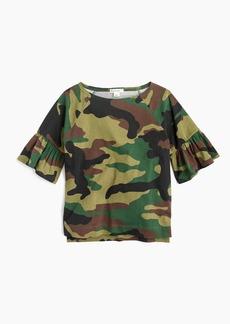 J.Crew Girls' flutter-sleeve T-shirt in camo