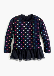 J.Crew Girls' foil-dot top with tulle hem