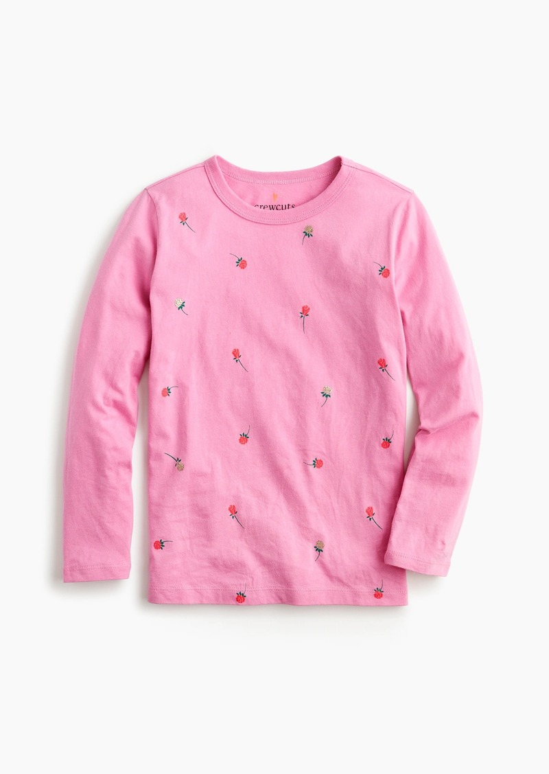 Girls' long-sleeve T-shirt with roses