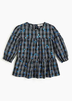 J.Crew Girls' plaid top with polka dots