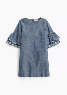 J.Crew Girls' ruffle-sleeve chambray dress