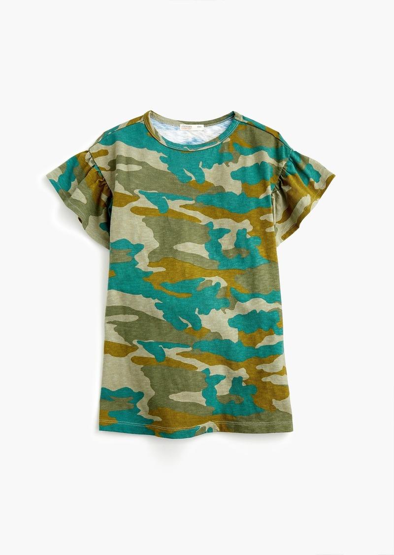 9ec1c77aa SALE! J.Crew Girls' ruffle-sleeve T-shirt dress in camo