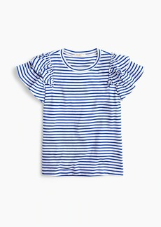 J.Crew Girls' ruffle-sleeve T-shirt in stripe