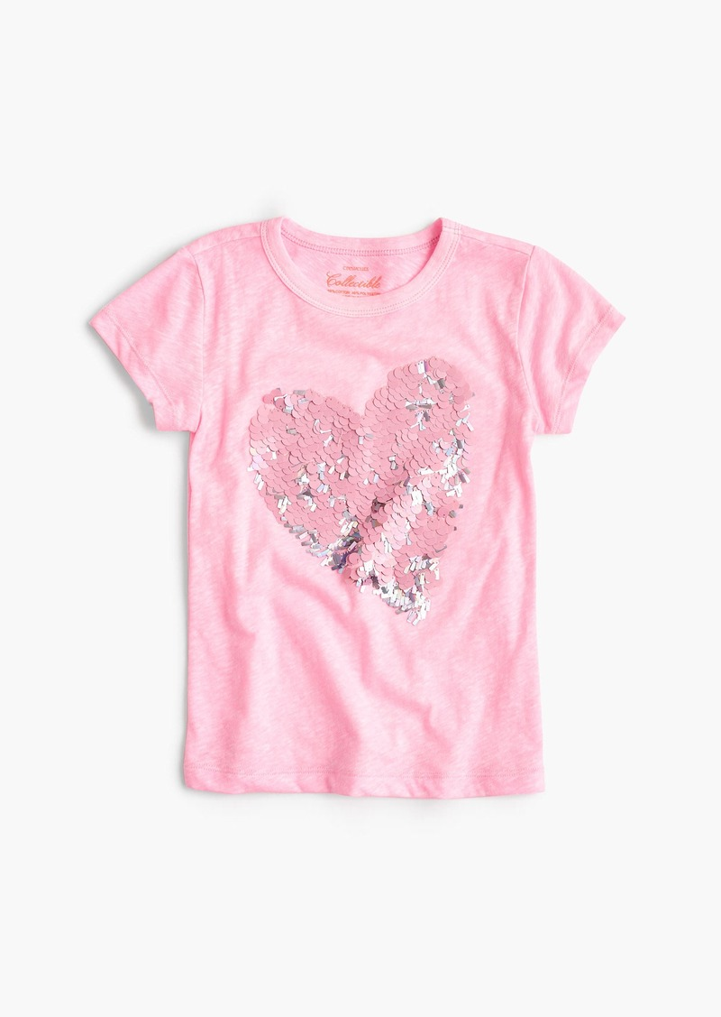 J crew girls 39 sequin heart t shirt tshirts shop it to me for Girls sequin t shirt