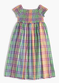 J.Crew Girls' smocked dress in rainbow check