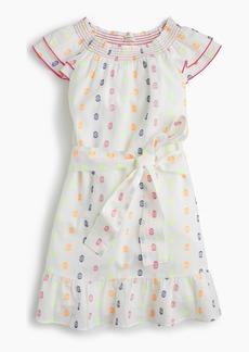 J.Crew Girls' smocked-neck dress in neon clip-dot