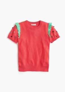 J.Crew Girls' strawberry short-sleeved sweater