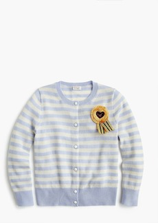 J.Crew Girls' striped cashmere cardigan sweater with ribbon embellishment
