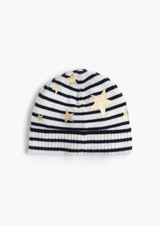 J.Crew Girls' striped knit hat with gold stars