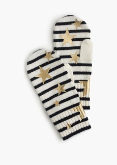 J.Crew Girls' striped mittens with gold stars