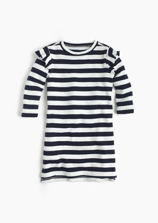J.Crew Girls' striped ruffle-trimmed long-sleeve dress