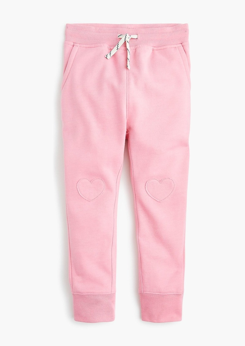 J.Crew Girls' sweatpants with hearts on knees