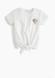 23dd93ae J.Crew Girls' tie-front T-shirt with glittery gem