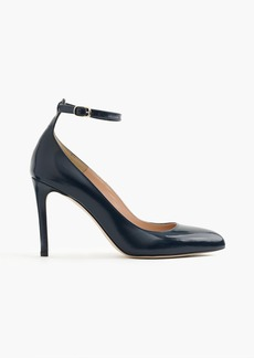 J.Crew Glossy leather pumps with ankle strap