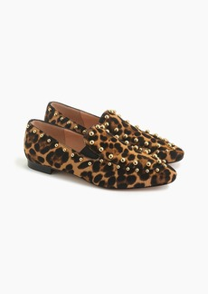 J.Crew Gold-studded loafers in leopard calf hair