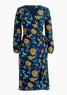 J.Crew Golden floral wrap dress in 365 crepe