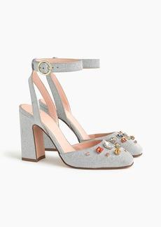 J.Crew Harlow ankle-strap pumps in embellished glitter
