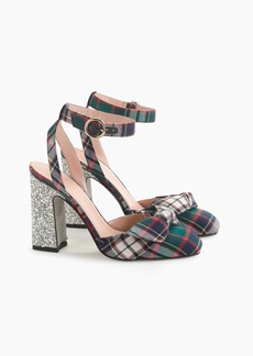 J.Crew Harlow ankle-strap pumps in festive plaid with glitter heel