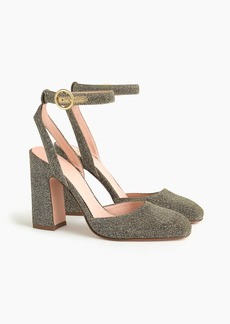 J.Crew Harlow ankle-strap pumps in gold Lurex®