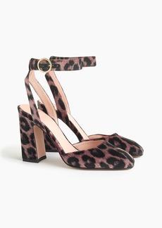 J.Crew Harlow ankle-strap pumps in leopard velvet