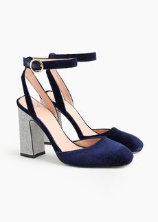 J.Crew Harlow ankle-strap pumps in velvet with glitter heel