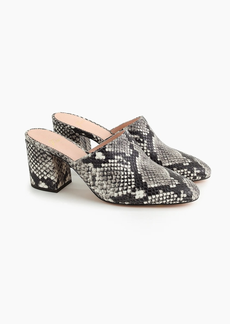 J.Crew High block-heel mules in faux snakeskin
