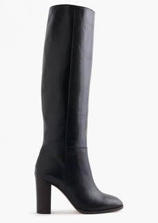 High-heel knee boots in leather