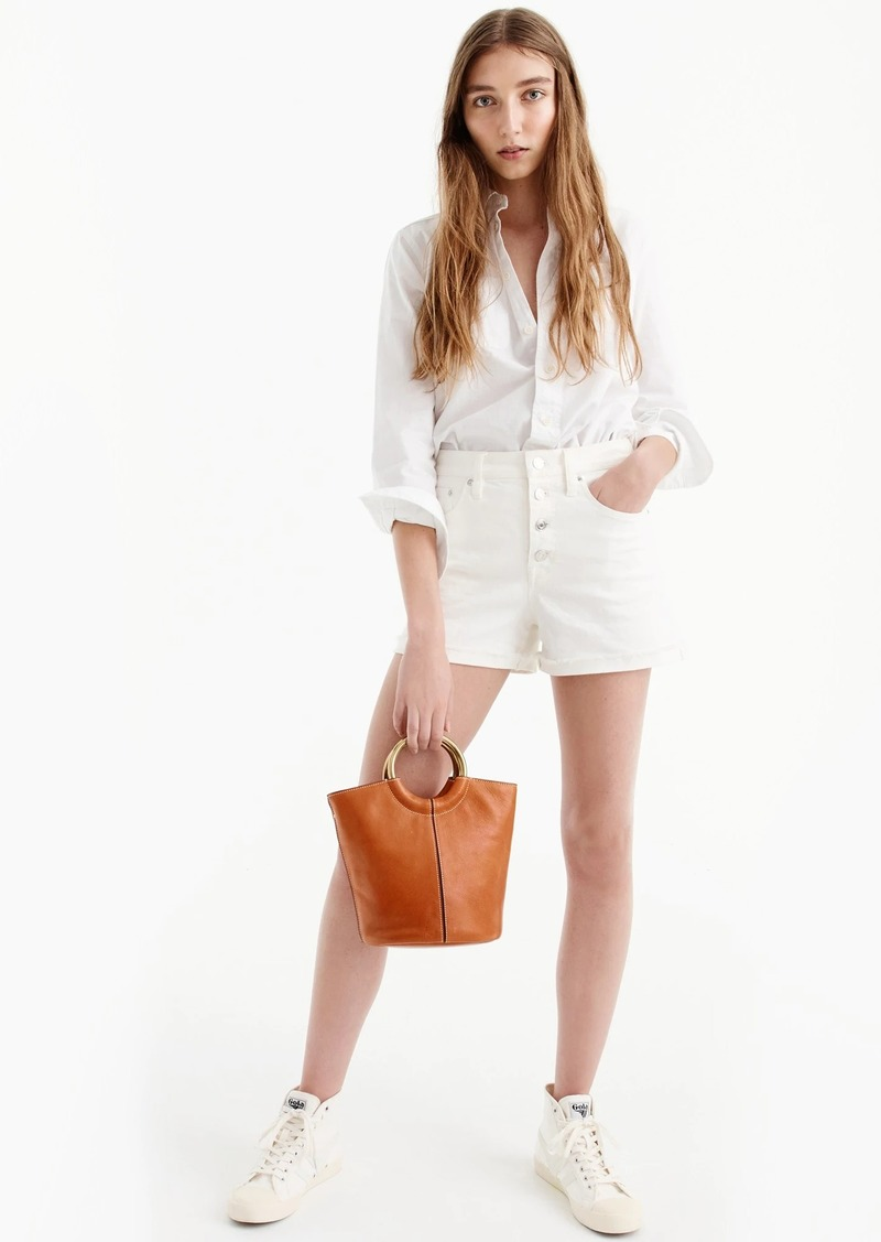 J.Crew High-rise denim short in white with button fly