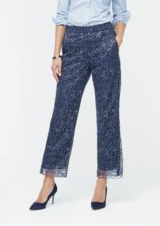 J.Crew High-rise pull-on Peyton wide-leg pant in metallic lace