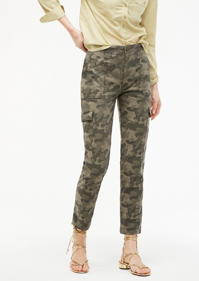 J.Crew High-rise tapered cargo pant in jacquard camo