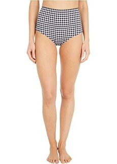 J.Crew High-Waisted Bikini Bottoms in Matte Gingham