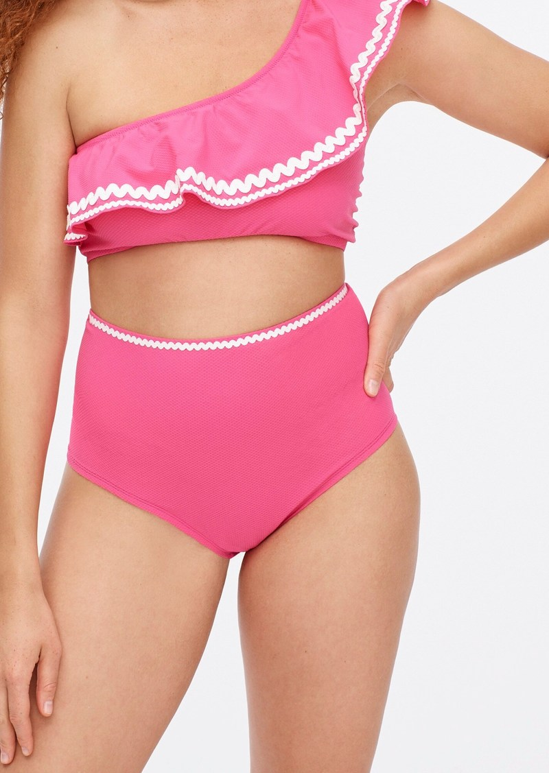 J.Crew High-waisted piqué nylon bikini bottom with rickrack
