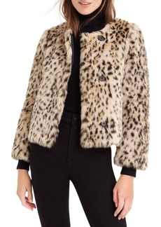 J.Crew J. Crew Crop Faux Snow Leopard Fur Coat