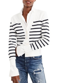 J.Crew J. Crew Lightweight Striped Crop Cardigan