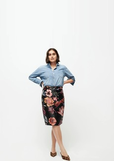 J.Crew Jacquard pencil skirt in midnight Dutch floral