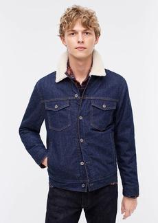 J.Crew Japanese denim trucker jacket with sherpa collar and eco-friendly PrimaLoft®