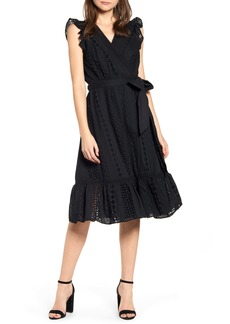 J.Crew All Over Eyelet Wrap Midi Dress (Regular & Petite)