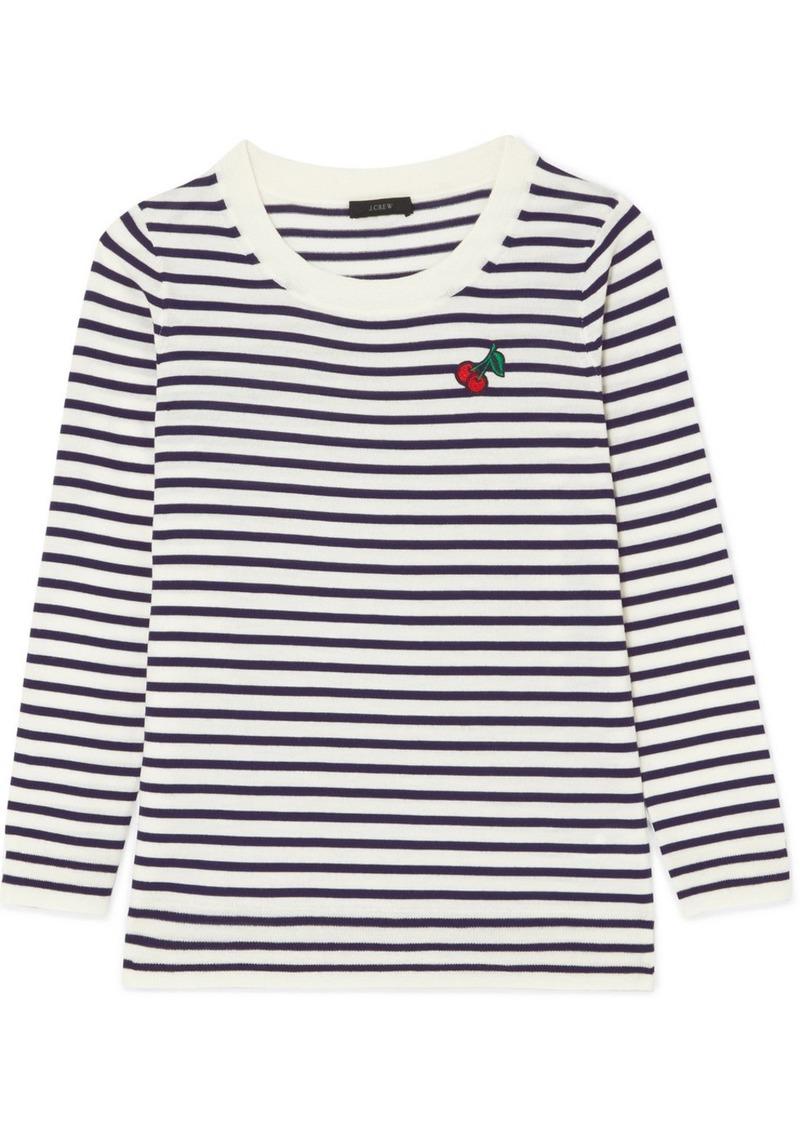 J.Crew Embroidered Striped Merino Wool T-shirt eUwDFopXL0