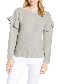 J.Crew Ava Ruffle Sleeve Stretch Cotton Sweater