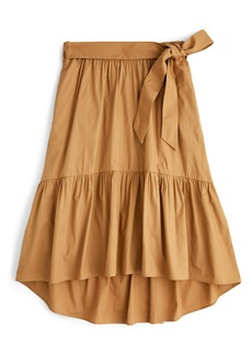 J.Crew Belted Pull-On Cotton Poplin Midi Skirt