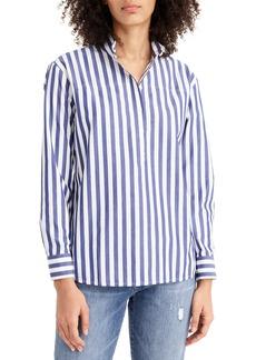 J.Crew Bold Stripe Band Collar Popover Tunic Shirt