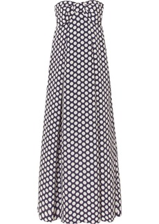 Bow-embellished polka-dot chiffon maxi dress