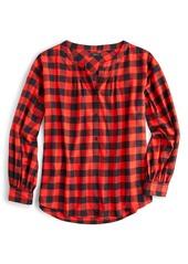 J.Crew Buffalo Check Band Collar Button Front Shirt