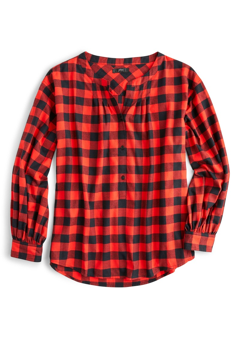 J.Crew Buffalo Check Band Collar Button Front Shirt